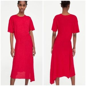 Zara W/B Collection Knit Ribbed Red Dress